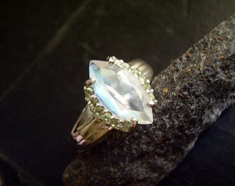 Elaine - Genuine Rainbow Moonstone & Peridot Ring - Sterling Silver Ring - Alternative Engagement Ring - Marquise Cut Wedding Ring - OOAK