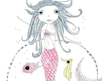 Illustration - Pen and Watercolour, Mermaid - Limited Edition Print by Jennie Deane