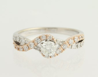 Diamond Engagement Ring - 14k White & Rose Gold .65ctw Unique Engagement Ring L9888