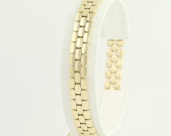 "Modified Panther Chain Bracelet 7 1/2"" - 14k Yellow Gold Women's N599"