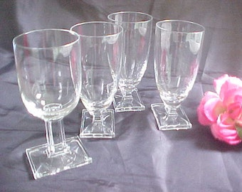 Heisey New Era Stemware Lot of 4, 3 Juice Glasses & 1 Claret Crystal Stems, Art Deco Styling No. 4044 From 1930s, Vintage Barware Glasses