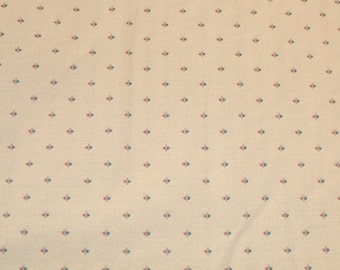 Upholstery Fabric - Small Roses - Beige - Vintage Fabric - Drapery Quality - Romantic Floral - Rose Buds