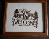 Welcome Sign, Moose, Bear Embroidery, Woodland Embroidery, Brown Frame, Housewarming, Cabin Frame, Mother's Day Gift Giving Idea, Birthday