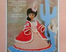"20%OFF Fibre Fiber Craft CLAIRE Southwest 15"" Fashion Doll - Crochet Doll Dress Clothes Clothing Pattern"