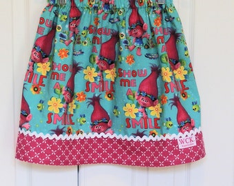 Show Me a Smile  Troll skirt  (2T, 3T, 4T, 5, 6, 7, 8, 10)