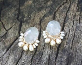 Big moonstone stud earrings - cluster earrings - wire wrapped cluster studs earrings