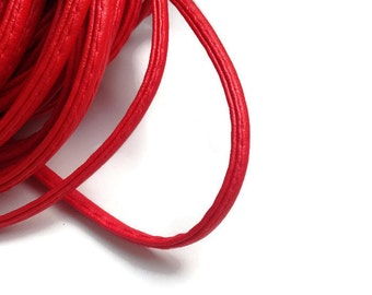 1m Red Leather Cord, Faux Leather Cord, Red Stitched Cord 4mm S 40 145