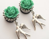 """5/8"""" 16mm Seafoam Green Swallow Tattoo Inspired Dangle Plugs 316L Surgical Stainless Steel Stretched Ears Gauges"""