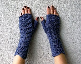 Fingerless Gloves knit arm warmers blue - grey knitting gloves women fingerless gloves spring accessories gift for her