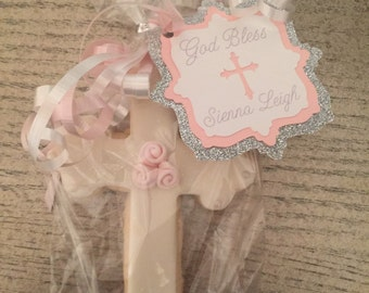 Baptism, Communion or Confirmation Cross Favor Tag with Ribbon (Favor NOT Included)