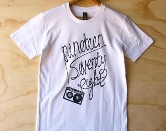 Hand Screen Printed 1978 Cassette Unisex T-Shirt - White