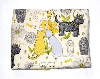 Baby Blanket - Dogs and Cats- Pale yellow Minky - Poodle Terrier