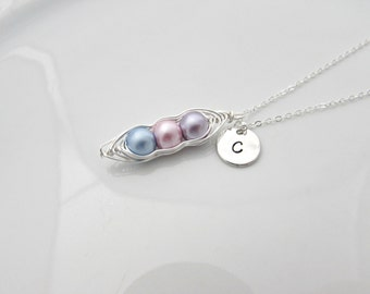 Pastel Pea Pod Necklace, Bridesmaid Gifts, Triplet Necklace, UK Seller, Three Color Pea Pod, Initial Pea Pod, Mother Daughter, Sister Gifts