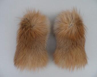 Gold Fox Fur Mittens