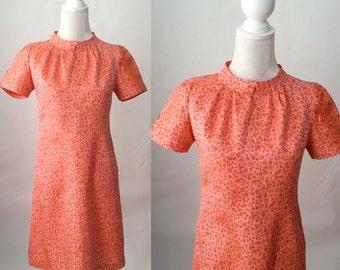 Vintage Dress, Vintage Floral Dress, 1960s Dress, 60s Pink Dress, 1960s Floral Dress, Short Sleeve Dress, Silk Vintage Dress, Floral Silk