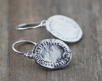 Silver Medallion Earrings, Gift for Women, Sterling Silver Earrings, Earrings Handmade, Wife Gift for Her, Burnish