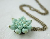 Blue Succulent Planter Necklace Pendant mini succulent plants arrangement Succulent Jewelry wedding birthday gifts