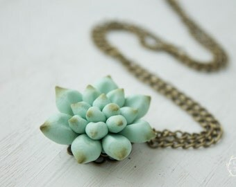 Blue Succulent Planter Necklace Pendant Wholesale 3 cm Mini Succulent Plants Arrangement Succulent Jewelry Wedding Birthday Gifts