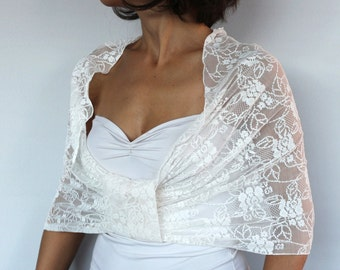 Bridal Shrug, Bridal Lace Shawl, Shoulder Wrap, Bridal Cape, Wedding Bolero Shrug Infinity Cream Stole, Capelet Modern Romantic Wedding