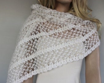 Bridal Shawl Winter Stole, White Bridesmaids Shoulder Wrap, Romantic Wedding Dress Cover-up Accessory, Warm Crochet Cape, Handmade