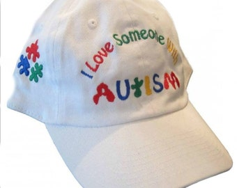 """Autism hat """"I Love Someone with Autism"""" Cap Awareness Embroidered w puzzle pieces"""