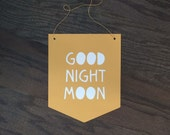Good Night Moon Paper Banner Pennant Typography Banner Wall Sign Paper Cut Yellow Moon Kids Bedroom Wall Hanging