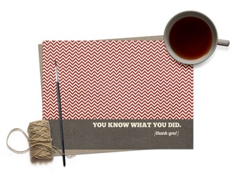 Funny Thank You Greeting Card / Thank You Card / Thank you for Friend / Humorous Thank You Card / Chevron Red / Thanks / Masculine Thank You