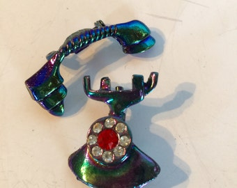 Iridescent Rhinestone Rotary Telephone Brooches lot 1034