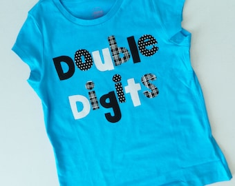 Personalized front, back - Double digits fun10 years -  personalized applique SHIRT - girl, toddler, tween - birthday number, name on back
