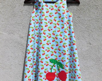 Adorable twirl dress, baby blue, red, green cherry sun dress, cherries applique, shoulder ties baby toddler girl tween 2T - 10