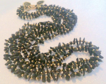 Set of 3 New Old Stock Long Black Stone and Gold Beaded Necklaces