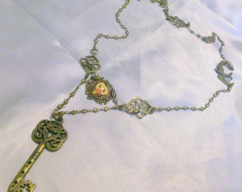 Vintage Brass Floral Heart and Key Drop Necklace