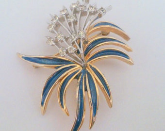 Vintage POLCINI Blue Enamel and Rhinestone Brooch