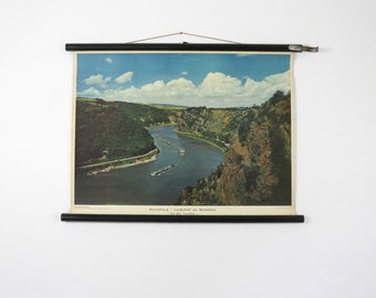 Vintage Pull Down Chart, River Rhine, Photography Chart