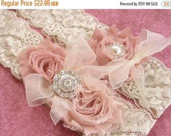 SUMMER SALE Vintage Wedding Garter Dusty Rose Bridal Garter Set  Lace Garter  with Toss Garter Ivory with Rhinestones and Pearls  Custom Wed