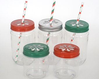 Plastic Mason Jars / 10 Plastic Jars & 10 Daisy Cut Jar Lids / Christmas  Holidays Wedding Favor Jars / Birthday Party Favors