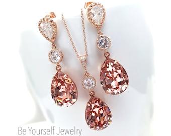 Blush Bridal Earrings Rose Gold Bride Necklace Soft Pink Wedding Jewelry Swarovski Vintage Rose Teardrop Earring Pastel Pink Bridesmaid Gift