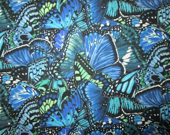 Butterfly Dramatic Butterflies Blue Green Cotton Fabric Fat Quarter or Custom Listing