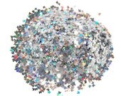 Silver SOLVENT RESISTANT Holographic Glitter BUTTERFLIES - 1 Fl. Ounce for Glitter Nail Art , Glitter Nail Polish and Glitter Crafts