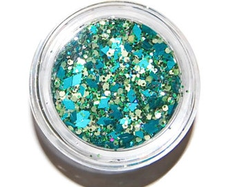 Teal Sparkle Mix, Solvent Resistant Glitter Mix: 5 GRAM JAR. Raw Nail Glitter Mix for Nail Polish and Nail Art