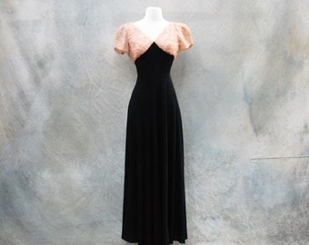 Vintage 30s romantic Old Hollywood evening gown - 1930s black and champagne long formal dress - medium