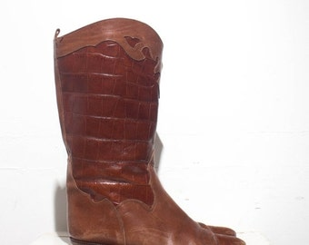 40% off Sale 7.5 | 38 Euro | Joan & David Brown Leather Moc Croc Western Style Boots