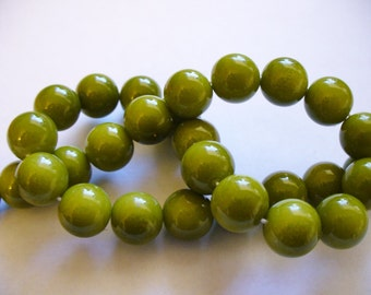 Glass  Beads Olive Green Round 10MM