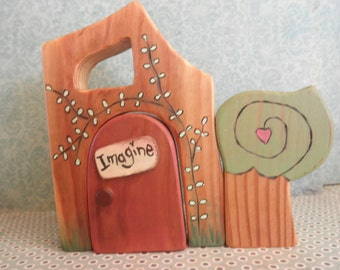 Wood Toy Set-Habitat-Magic Portal-Tree puzzled In-Surprise Story Dice--Waldorf Inspired