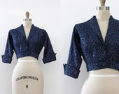 vintage 1950s jacket // 50s blue bolero cropped jacket