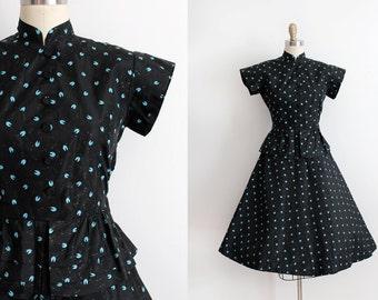 vintage 1940s dress // 40s acetate peplum evening dress
