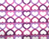 Destash Flannel Fabric in a Fun Pink and Lavender Heart Print 1 Yard