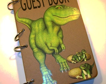 Guest Book Birthday, Dinosaur Guest Book, Dinosaur First Birthday, Party Sign in Book, Dinosaur Party Decor, Dinosaur Guestbook