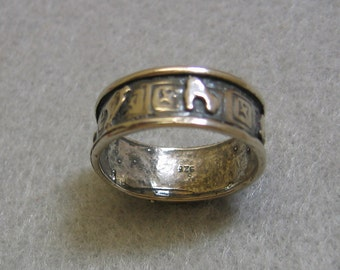Very Unusual Vintage Pictograph Sterling Silver Band Ring - Size 8.25