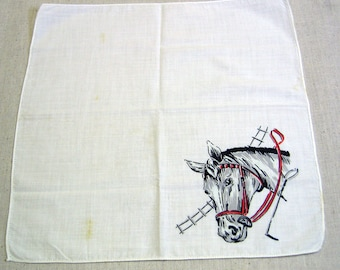 Vintage Horse Design Printed Cotton Handkerchief, Child's Hankie